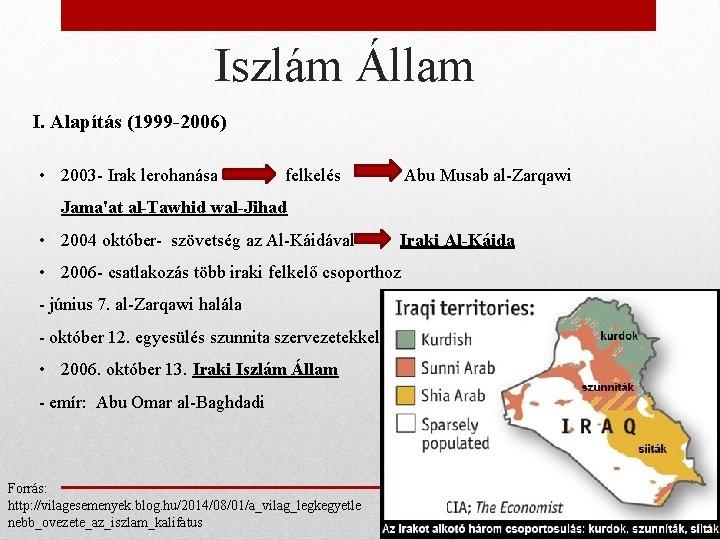 Iszlám Állam I. Alapítás (1999 -2006) • 2003 - Irak lerohanása felkelés Abu Musab