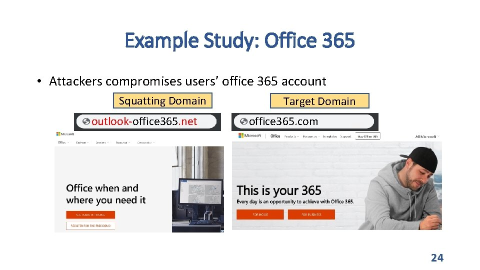 Example Study: Office 365 • Attackers compromises users' office 365 account Squatting Domain outlook-office