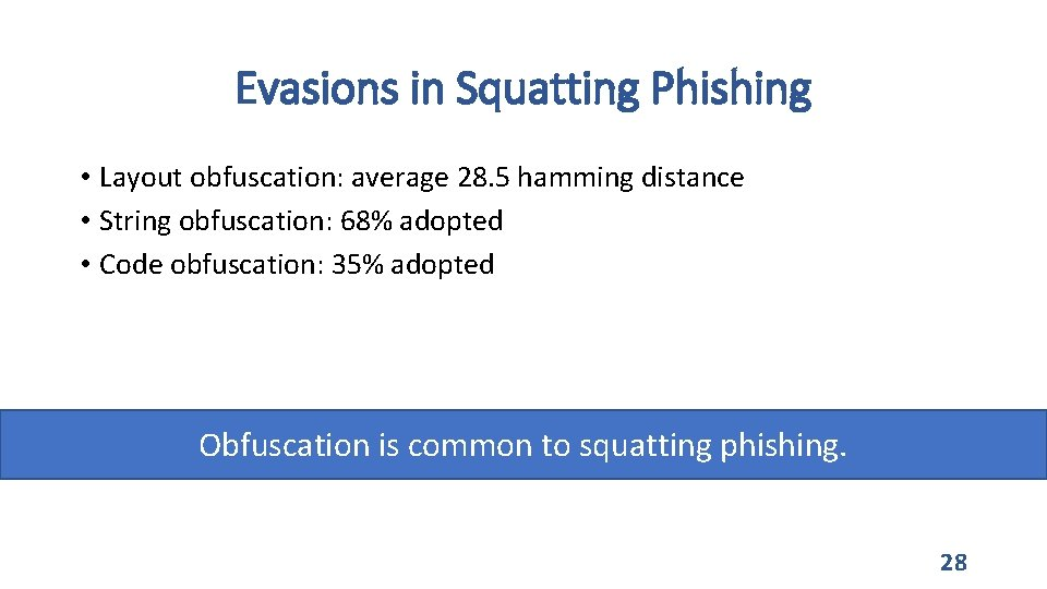 Evasions in Squatting Phishing • Layout obfuscation: average 28. 5 hamming distance • String