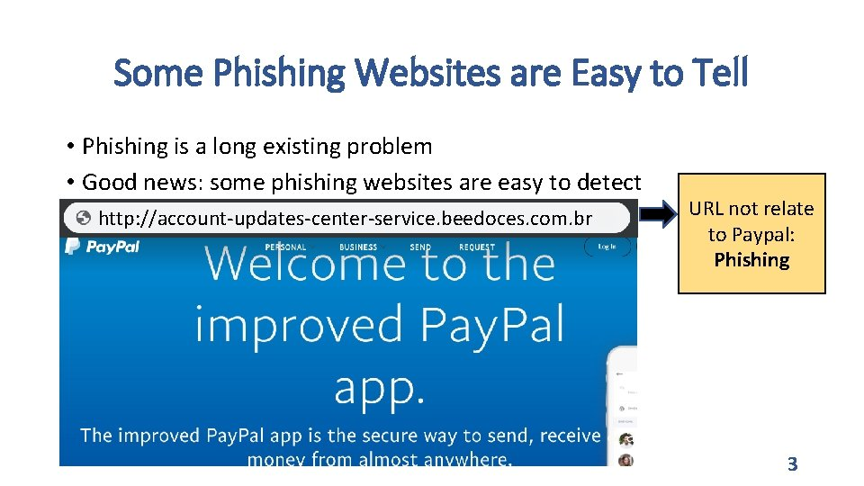 Some Phishing Websites are Easy to Tell • Phishing is a long existing problem