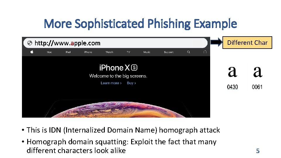 More Sophisticated Phishing Example http: //www. apple. com • This is IDN (Internalized Domain
