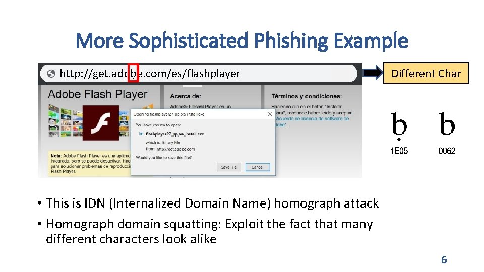 More Sophisticated Phishing Example http: //get. adoḅe. com/es/flashplayer http: //www. apple. com Different Char