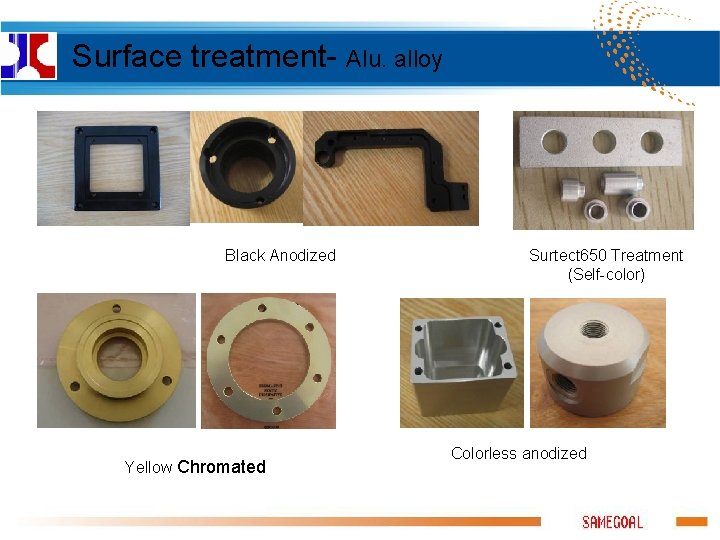 Surface treatment- Alu. alloy Black Anodized Yellow Chromated Surtect 650 Treatment (Self-color) Colorless anodized