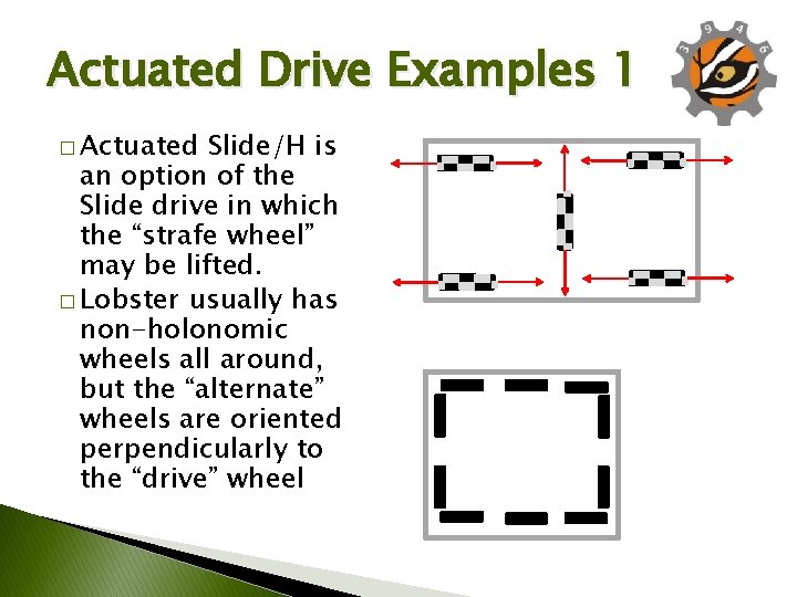 Actuated Drive Examples 1 � Actuated Slide/H is an option of the Slide drive