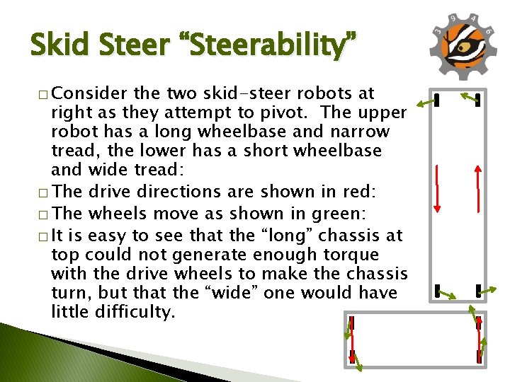 """Skid Steer """"Steerability"""" � Consider the two skid-steer robots at right as they attempt"""