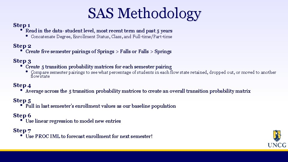 SAS Methodology Step 1 • Read in the data- student level, most recent term