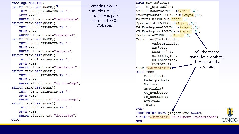 creating macro variables for each student category within a PROC SQL step call the