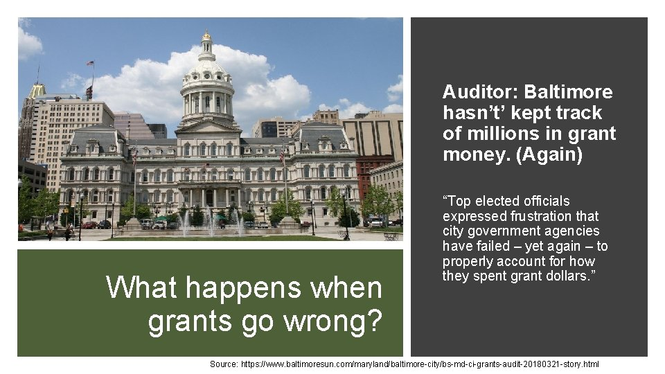 Auditor: Baltimore hasn't' kept track of millions in grant money. (Again) What happens when