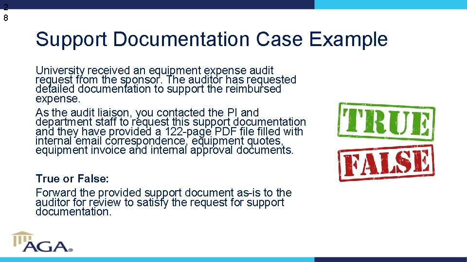 2 8 Support Documentation Case Example University received an equipment expense audit request from