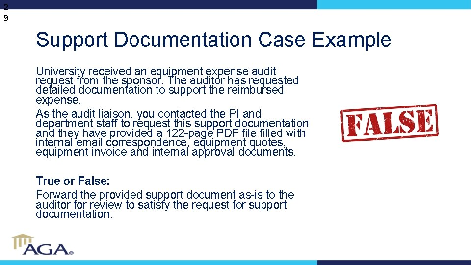 2 9 Support Documentation Case Example University received an equipment expense audit request from