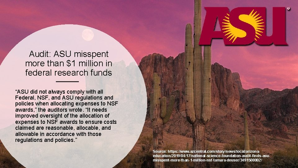 """Audit: ASU misspent more than $1 million in federal research funds """"ASU did not"""