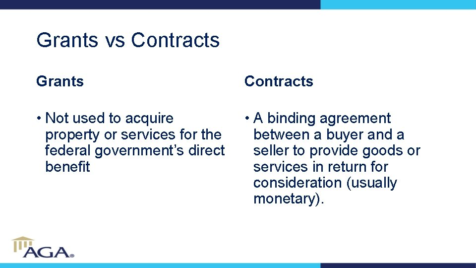 Grants vs Contracts Grants Contracts • Not used to acquire property or services for