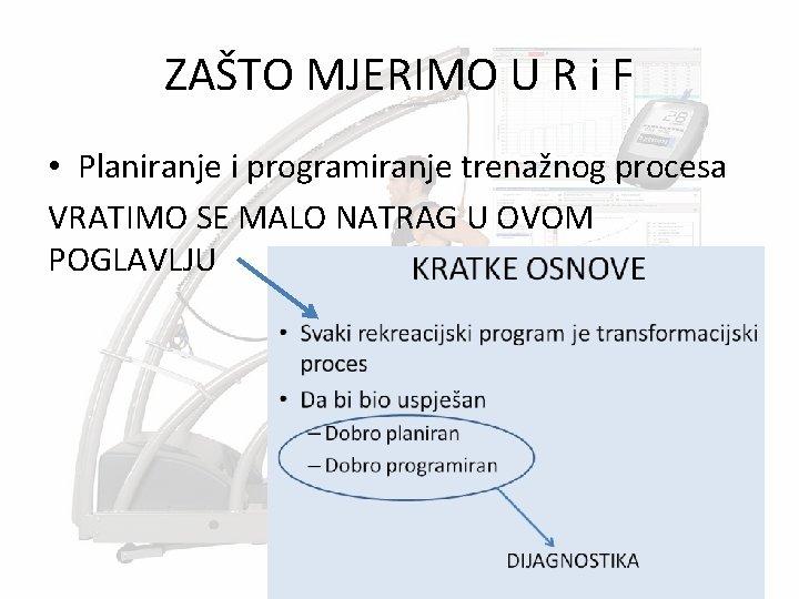 ZAŠTO MJERIMO U R i F • Planiranje i programiranje trenažnog procesa VRATIMO SE