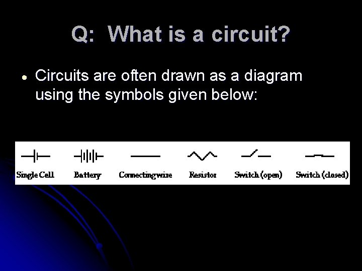 Q: What is a circuit? Circuits are often drawn as a diagram using the