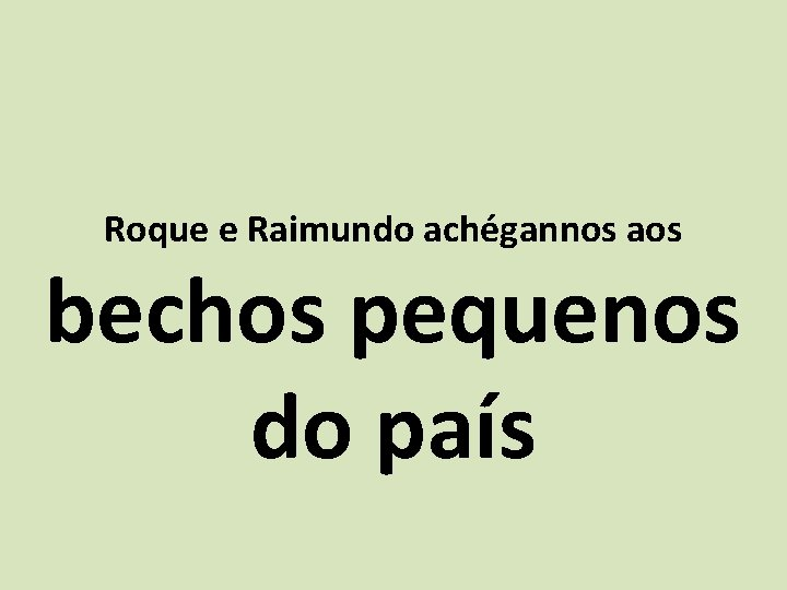 Roque e Raimundo achégannos aos bechos pequenos do país