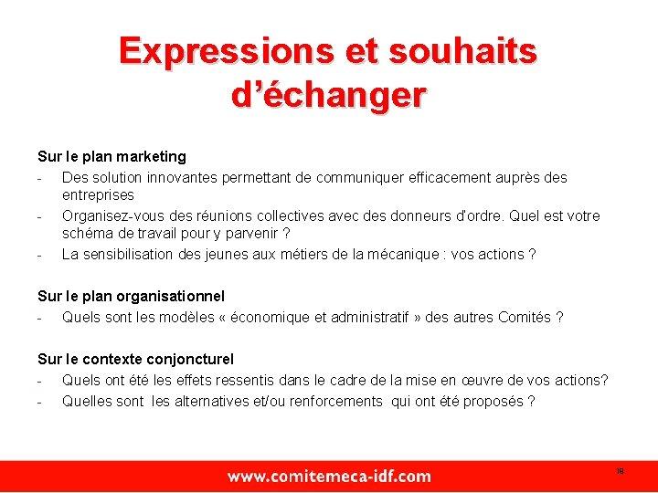 Expressions et souhaits d'échanger Sur le plan marketing - Des solution innovantes permettant de