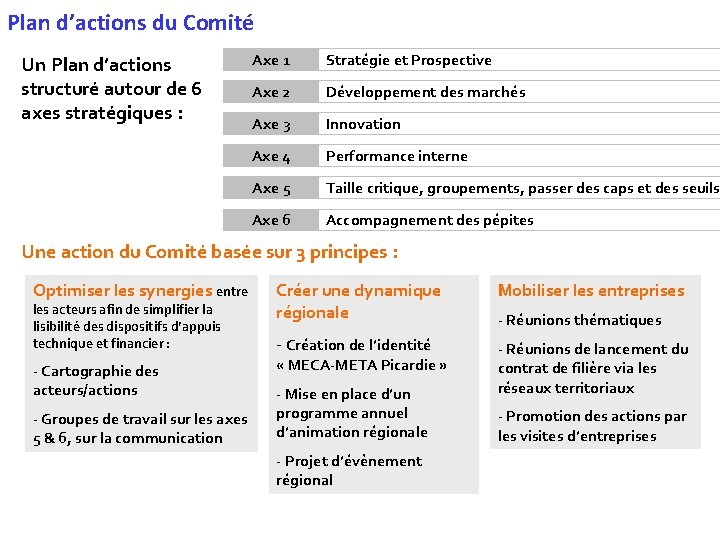Plan d'actions du Comité Un Plan d'actions structuré autour de 6 axes stratégiques :