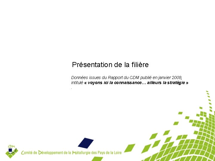 Présentation de la filière Données issues du Rapport du CDM publié en janvier 2008,