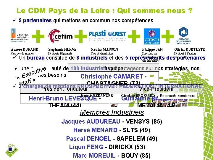 Le CDM Pays de la Loire : Qui sommes nous ? 5 partenaires qui