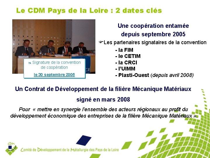 Le CDM Pays de la Loire : 2 dates clés Une coopération entamée depuis