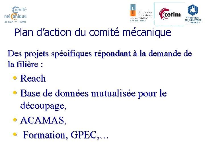 FONCTIONNEMENT DU COMITE Plan d'action du comité mécanique Des projets spécifiques répondant à la