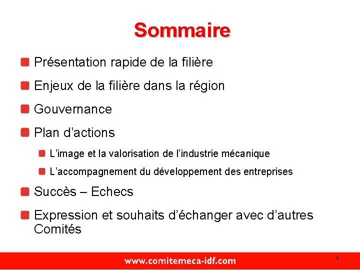 Sommaire Présentation rapide de la filière Enjeux de la filière dans la région Gouvernance