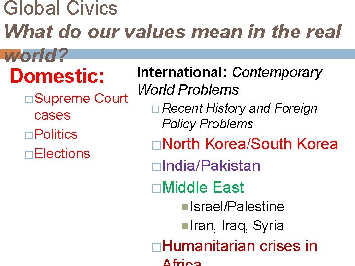 Global Civics What do our values mean in the real world? International: Contemporary Domestic: