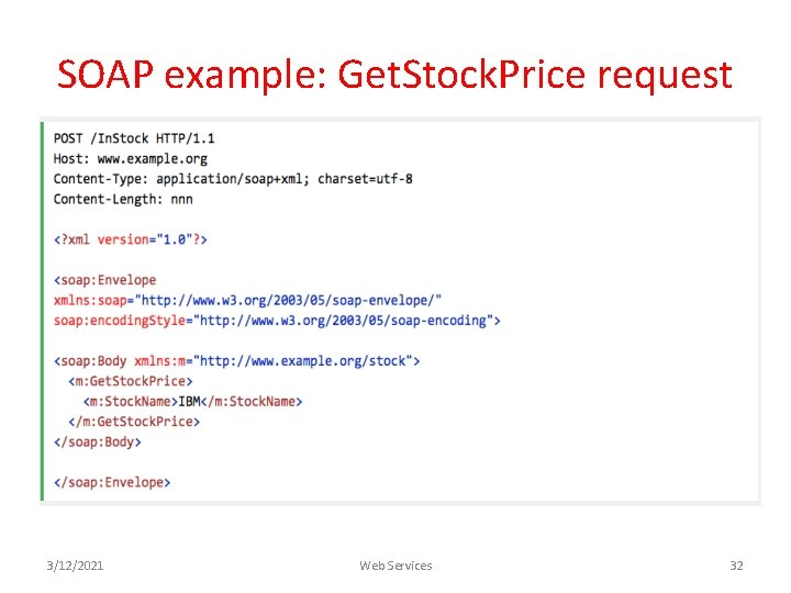 SOAP example: Get. Stock. Price request 3/12/2021 Web Services 32