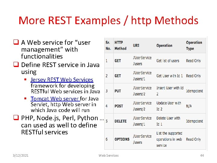 """More REST Examples / http Methods q A Web service for """"user management"""" with"""