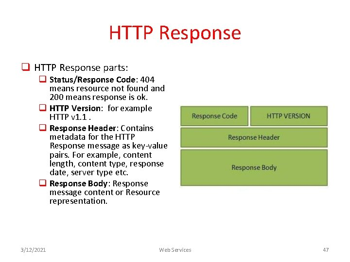 HTTP Response q HTTP Response parts: q Status/Response Code: 404 means resource not found