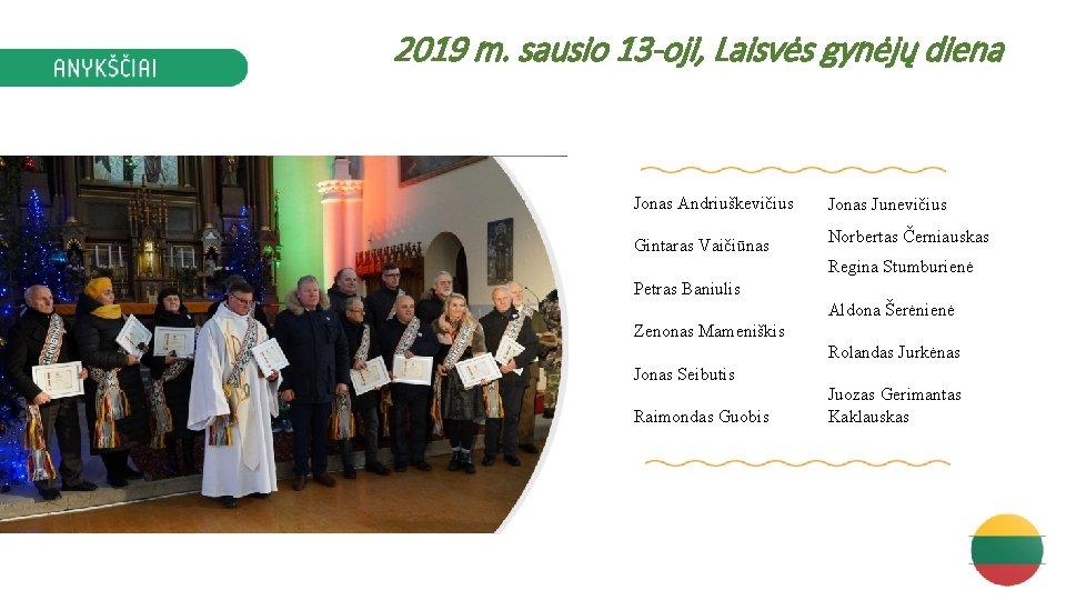 2019 m. sausio 13 -oji, Laisvės gynėjų diena Jonas Andriuškevičius Gintaras Vaičiūnas Jonas Junevičius