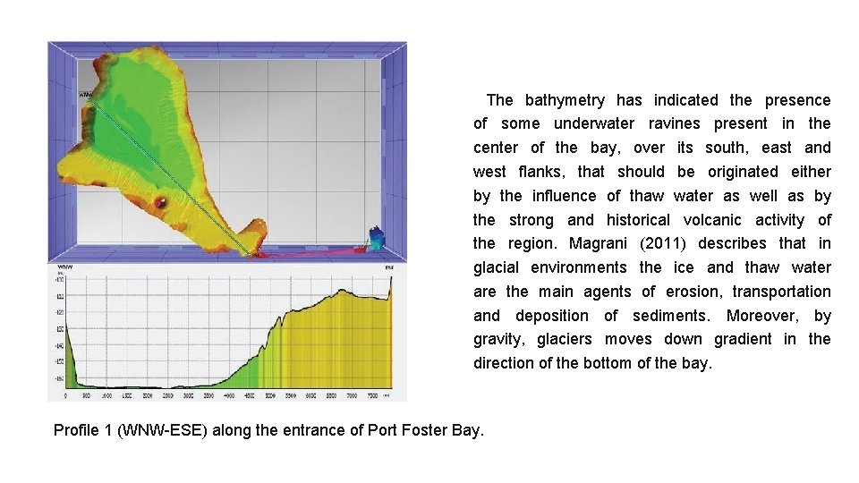 The bathymetry has indicated the presence of some underwater ravines present in the center