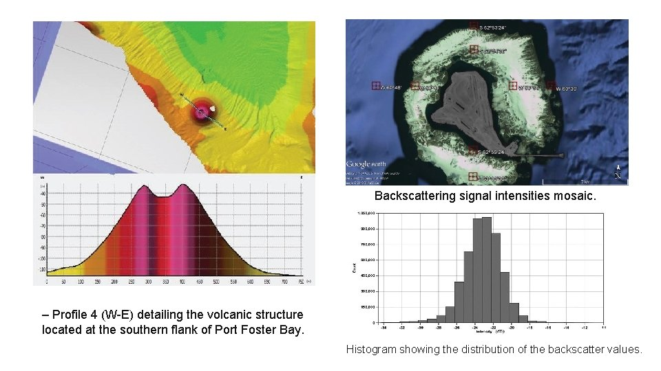 Backscattering signal intensities mosaic. – Profile 4 (W-E) detailing the volcanic structure located at
