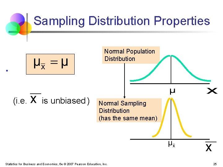 Sampling Distribution Properties Normal Population Distribution § (i. e. is unbiased ) Normal Sampling