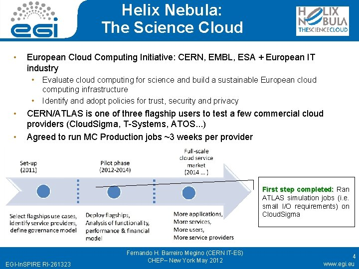 Helix Nebula: The Science Cloud • European Cloud Computing Initiative: CERN, EMBL, ESA +