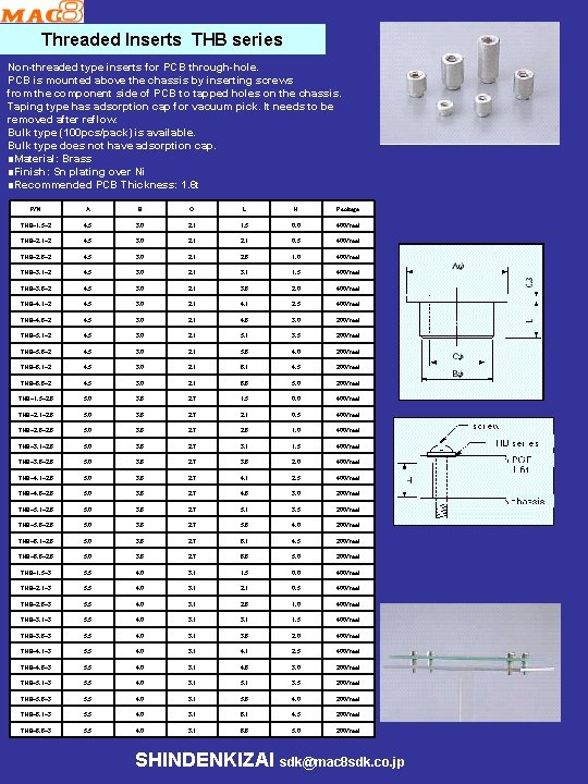 Threaded Inserts THB series Non-threaded type inserts for PCB through-hole. PCB is mounted above