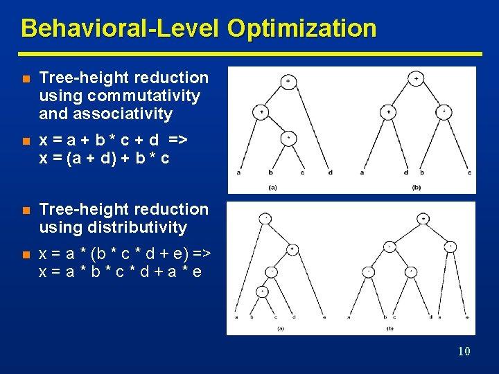 Behavioral-Level Optimization n Tree-height reduction using commutativity and associativity n x = a +