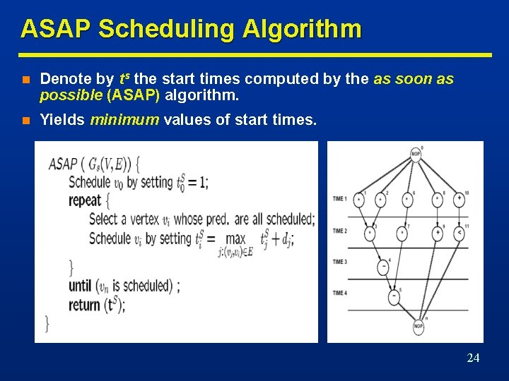 ASAP Scheduling Algorithm n Denote by ts the start times computed by the as
