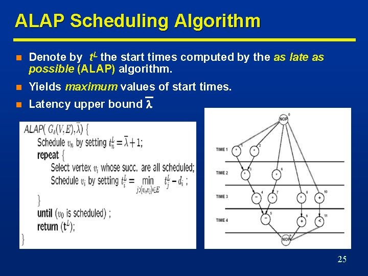 ALAP Scheduling Algorithm n Denote by t. L the start times computed by the
