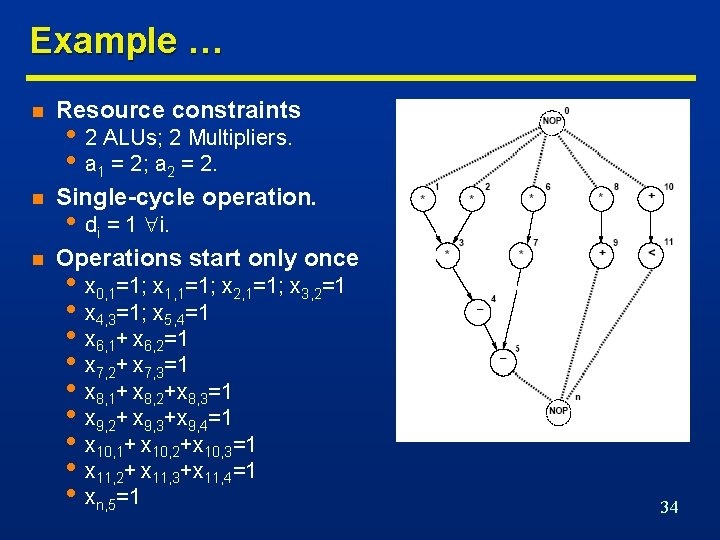Example … n Resource constraints n Single-cycle operation. n Operations start only once •