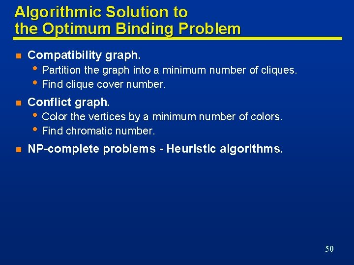 Algorithmic Solution to the Optimum Binding Problem n Compatibility graph. n Conflict graph. n