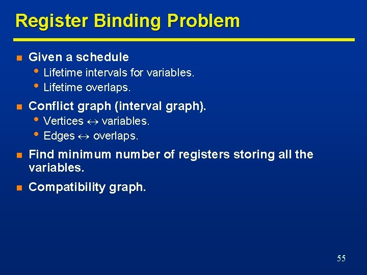 Register Binding Problem n Given a schedule n Conflict graph (interval graph). n Find