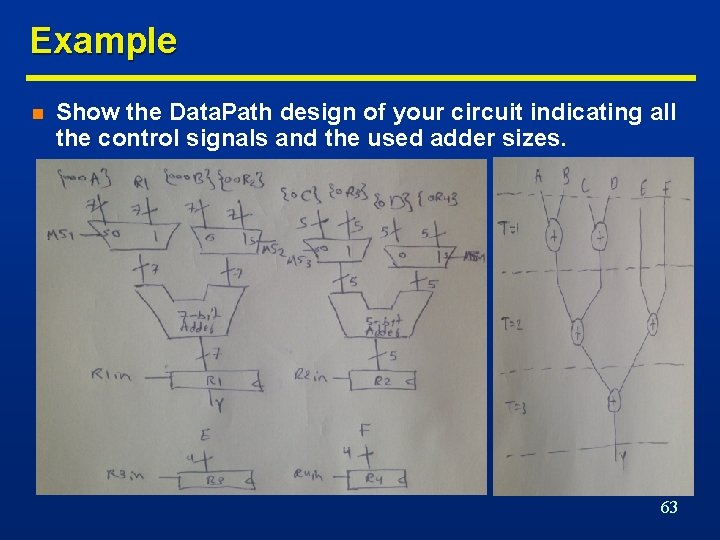 Example n Show the Data. Path design of your circuit indicating all the control