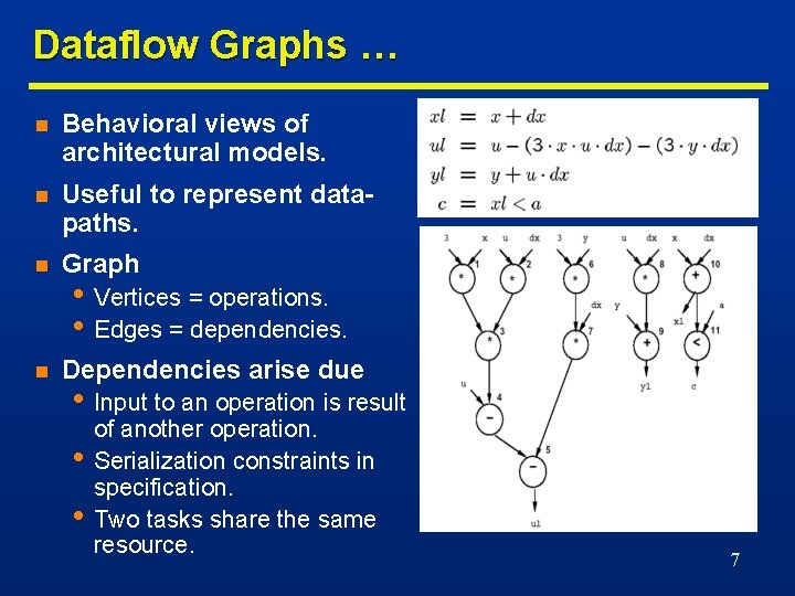 Dataflow Graphs … n Behavioral views of architectural models. n Useful to represent datapaths.