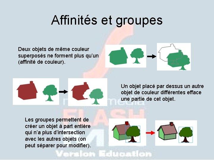 Affinités et groupes Deux objets de même couleur superposés ne forment plus qu'un (affinité