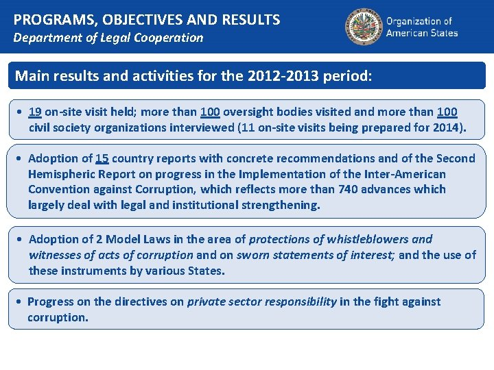 PROGRAMS, OBJECTIVES AND RESULTS Department of Legal Cooperation Main results and activities for the