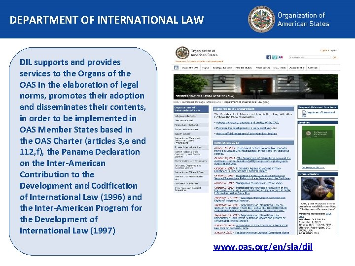 DEPARTMENT OF INTERNATIONAL LAW DIL supports and provides services to the Organs of the