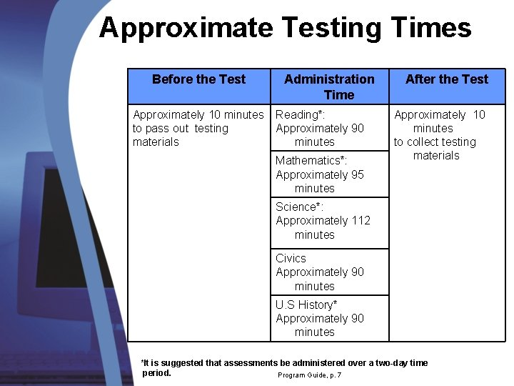 Approximate Testing Times Before the Test Approximately 10 minutes to pass out testing materials