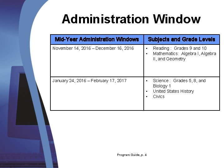 Administration Window Mid-Year Administration Windows Subjects and Grade Levels November 14, 2016 – December