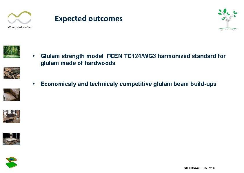 Expected outcomes • Glulam strength model �CEN TC 124/WG 3 harmonized standard for glulam